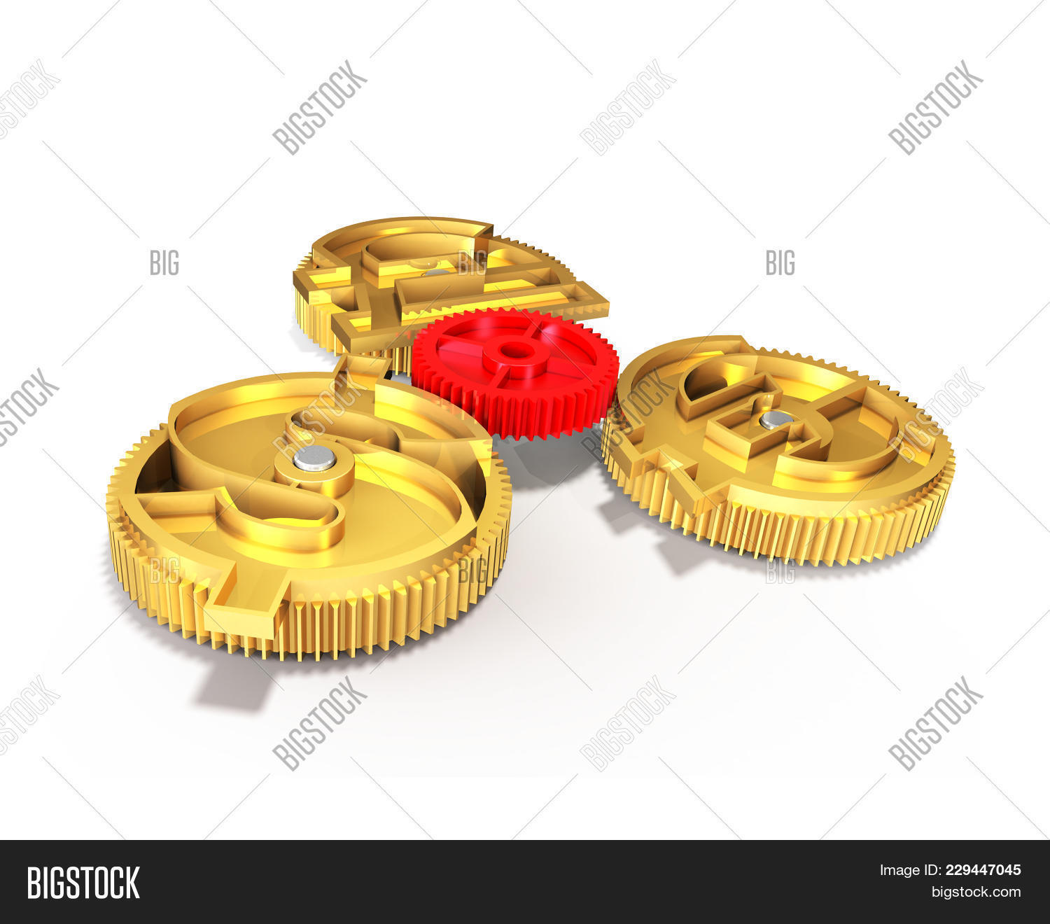 Gears Gold Dollar Sign Pound Euro Image Photo Bigstock