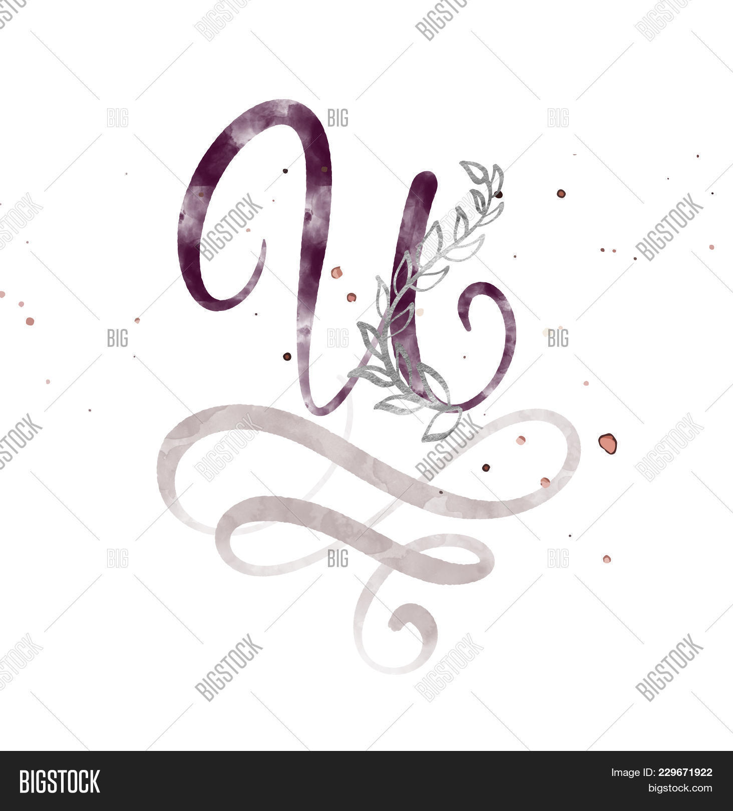 Hand Drawn Calligraphy Letter U Watercolor Script Font Isolated Letters Written With Ink