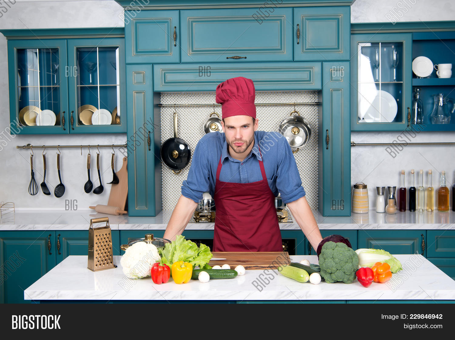 Man Chef Cook Kitchen, Cuisine. Image & Photo | Bigstock