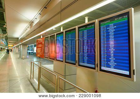 WARSAW, POLAND - CIRCA NOVEMBER, 2017: departures timetable display at Warsaw Chopin Airport.