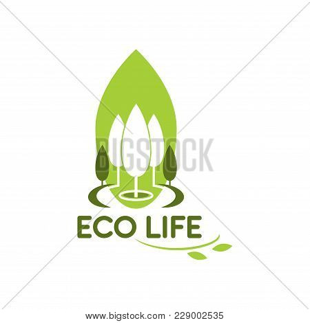 Green Tree And Leaf Icon For Eco City Life Or Urban Outdoor Landscaping Design Company. Vector Flat