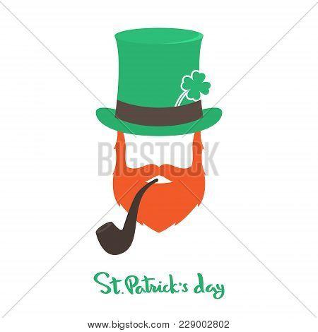 Happy Saint Patricks Day Card With Face Irishman. Vector Illustration.