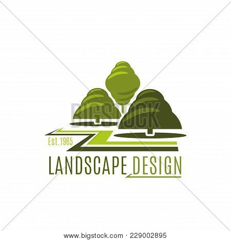 Landscape Design Company Icon Template For Landscaping And Green Gardening Designing For Eco City Ho