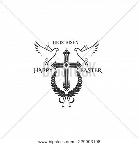Happy Easter Cross Crucifix And Flying Doves Icon For Religious Easter Holiday. Vector Isolated Symb