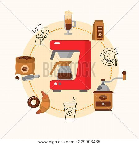 Coffee Equipment Flat Consept. Hot Drinks Flat Line Icons - Coffeemaker Machine, Beans, Cup, Grinder