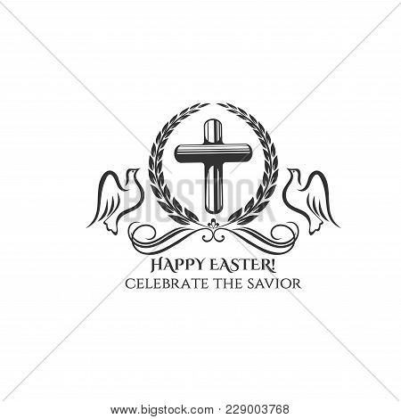 Happy Easter Cross Icon For Easter Day Or Resurrection Sunday Celebration Greeting Card Design. Vect
