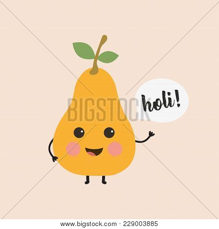 Festive Card With Cute Happy Pear And Holi Inscription, Cartoon Pear Banner