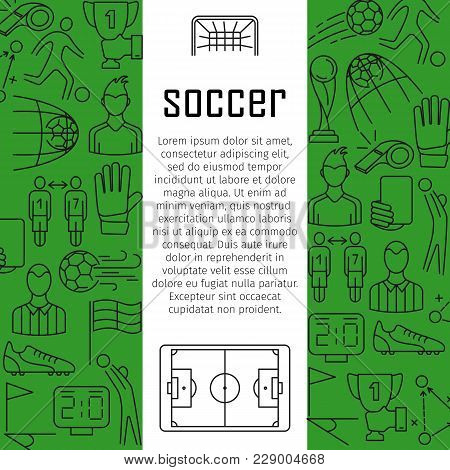 Soccer Vector Banner Design Concept, With Thin Line Art Icons. Soccer, Football Design Background. S