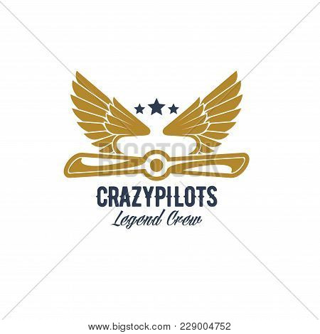 Avia Customs And Retro Aviation Icon For Pilots Crew Team. Vector Isolated Badge Of Retro Airplane P