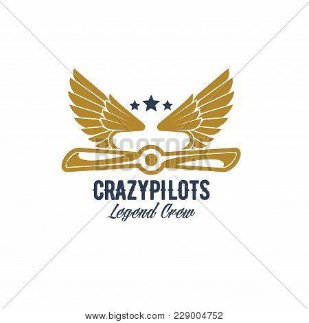 Avia Customs And Retro Aviation Icon For Pilots Crew Team. Vector Isolated Badge Of Retro Airplane P