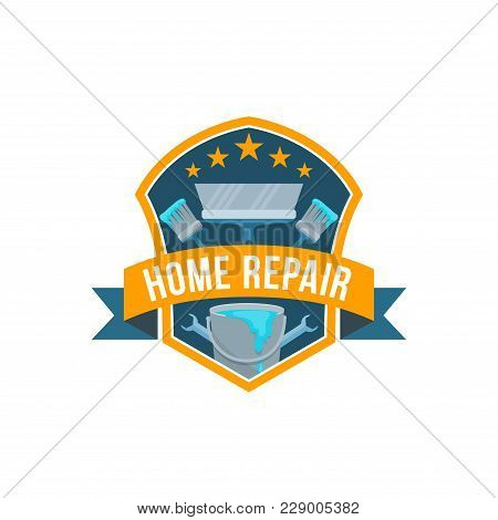 Home Repair Service Or Work Tools Shop Icon. Vector Isolated Badge Of House Carpentry And Renovation