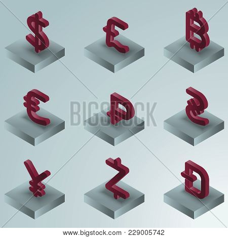 Currency Color Gradient Isometric Icons. Vector Illustration, Eps 10