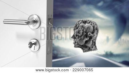 Digital composite of Cog head floating behind door on stormy road
