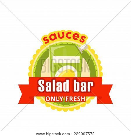 Salad Bar Of Fast Food Restaurant Icon Design For Fastfood Or Snacks Bistro And Food Court. Vector I