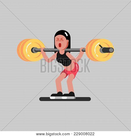 Girl Hardly Makes A Squat With Weight In Gym