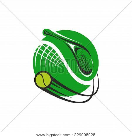 Tennis Sport Club Or Championship Game Icon Of Tennis Ball And Racket, Vector Isolated Symbol Or Bad
