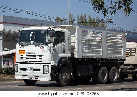 Chiang Mai, Thailand -january 22 2018:  Trailer Dump Truck Of Thanachai Company. On Road No.1001, 8