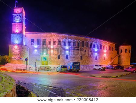 Safed, Israel - February 28, 2018: Night View Of The Historic Saraya Building In Safed (tzfat), Isra