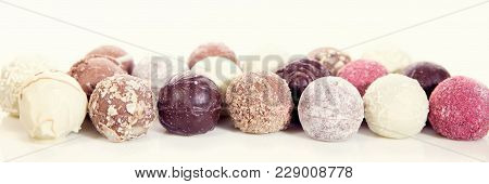 Different Sorts Of Chocolate Pralines Or Truffles, Concept Epicure Chocolate Candy