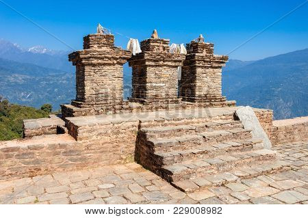 Ruins Of Rabdentse Palace Near Pelling, Sikkim State In India. Rabdentse Was The Second Capital Of T