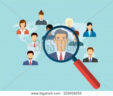 Magnifying Glass For Choosing The Right Person On Word Map For International Best Position. Recruitm