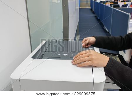 Selective Focus On Secretary With Black Suit Uses Office Printer For Copying And Scanning The Import