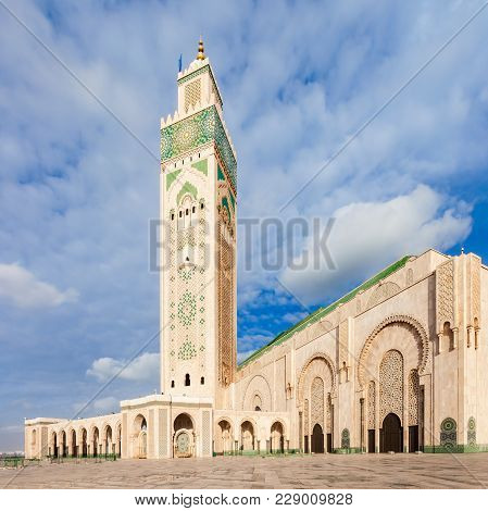 The Hassan Ii Mosque Is A Mosque In Casablanca, Morocco. Hassan Ii Mosque Is The Largest Mosque In M