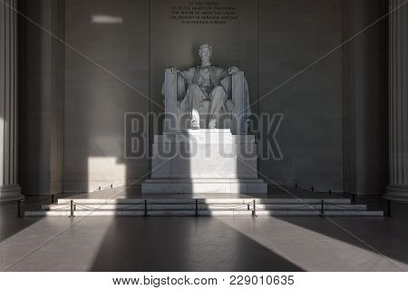 Statue Of Abraham Lincoln At Sunrise In Lincoln Memorial, Washington Dc