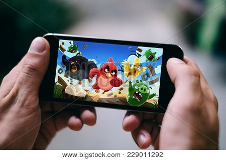 Cologne, Germany - February 27, 2018: Angry Birds Application Game Played On Smartphone