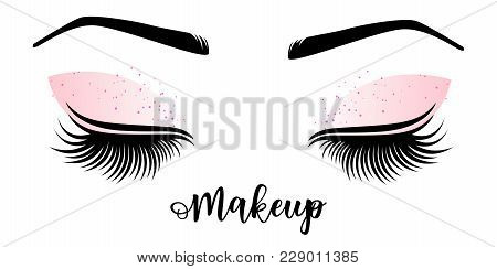 Makeup Master Logo. Vector Illustration Of Lashes And Brow. For Beauty Salon, Lash Extensions Maker,