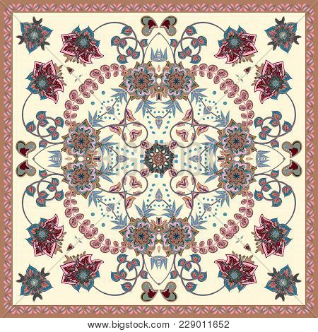 Design For Square Pocket, Shawl, Scarf, Textile. Paisley Floral Pattern. Pastel On White.