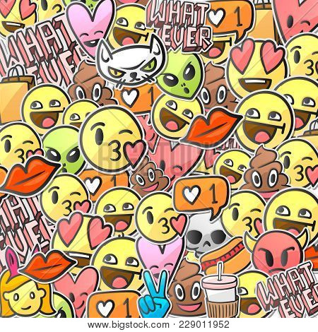 Emoji Smiley Faces Pattern, Emoticon Stickers Background, Vector Illustration.