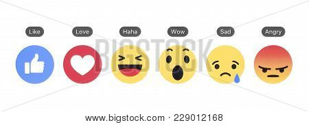 Kiev, Ukraine - December 06, 2017: Facebook Like Button And Empathetic Emoji Reactions Printed On Wh