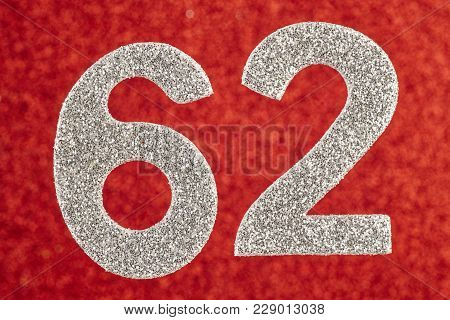 Number Sixty-two Silver Color Over A Red Background. Anniversary. Horizontal