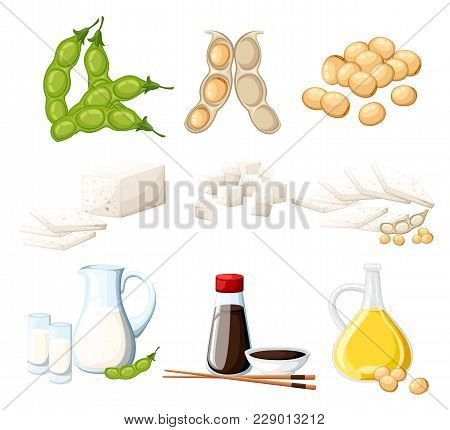 Set Of Soy Products Milk And Oil In Glass Jug Soy Sauce In Transparent Bottle Tofu And Beans Organic