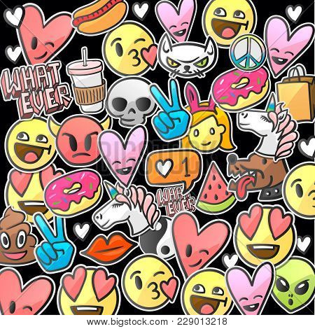 Pattern Of Emoticons Stickers, Emoji Smile Faces On A Black Background, Vector Illustration.