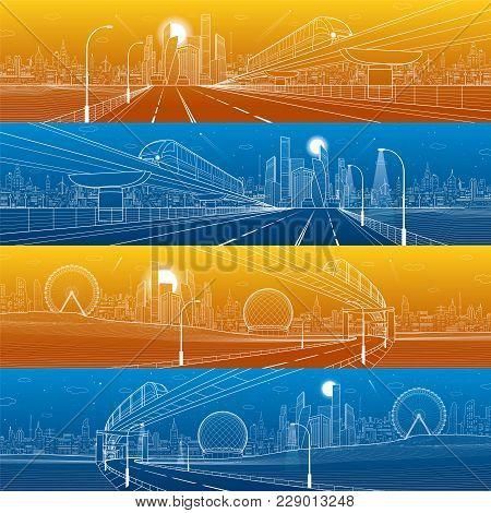 Transportation Urban Panorama Set. Monorail Railway. Train On The Bridge. Illuminated Highway. Skyli