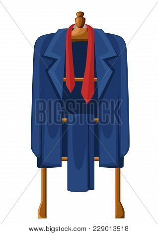Man Blue Suit With Red Tie On Wooden Hanger Vector Illustration Isolated On White Background.