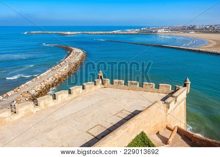 Rabat Beach Aerial Panoramic View From The Kasbah Of The Udayas Fortress In Rabat In Morocco. The Ka