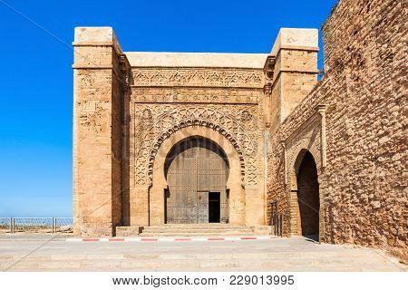 The Kasbah Of The Udayas Entrance Gate In Rabat In Morocco. The Kasbah Of The Udayas Is Located At T