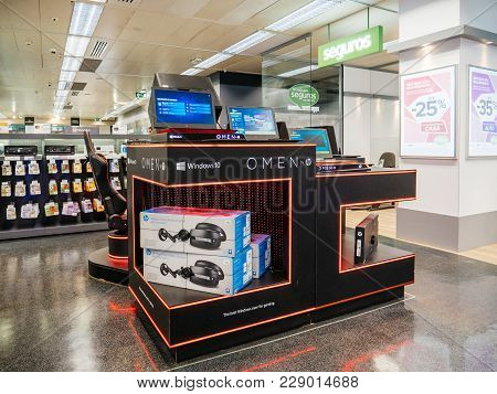Lisbon, Portugal - Feb 10, 2018: Omen By Hp Pc Computer Stand Inside El Corte Ingles It Department S