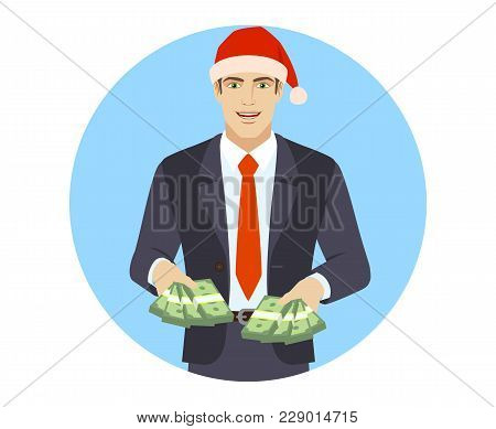 Businessman With Cash Money. Portrait Of Businessman In A Flat Style. Vector Illustration.