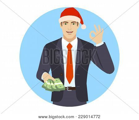 Businessman In Santa Hat With Money Show A Okay Hand Sign. Portrait Of Businessman In A Flat Style.