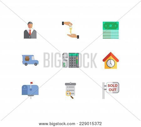 Building Icons Set. Deal And Building Icons With Agent, Price Calculation And Sold Out. Set Of Eleme