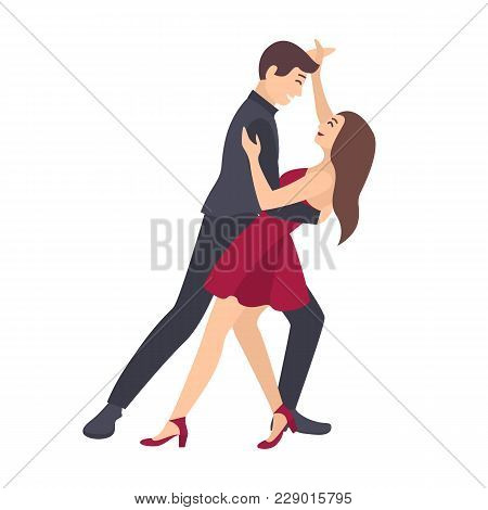 Pair Of Young Man And Woman Dressed In Elegant Clothes Dancing Salsa Isolated On White Background. M