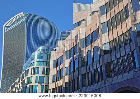 London, Uk - February 25, 2018: Modern Facades On Eastcheap Street In The Financial District Of The