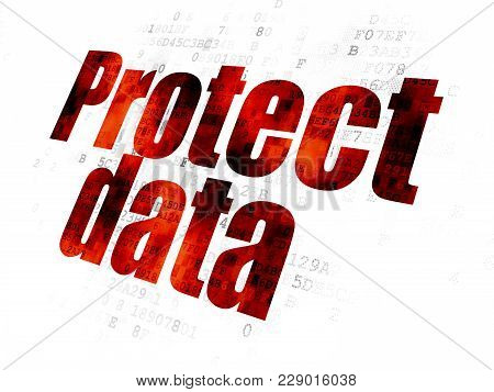 Privacy Concept: Pixelated Red Text Protect Data On Digital Background