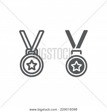 Medal Line And Glyph Icon, Trophy And Award, Best Student Sign Vector Graphics, A Linear Pattern On