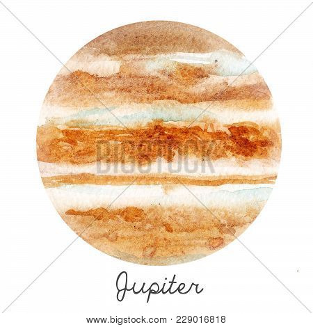 Beautiful Watercolor Hand Drawn Illustration Of Jupiter Planet