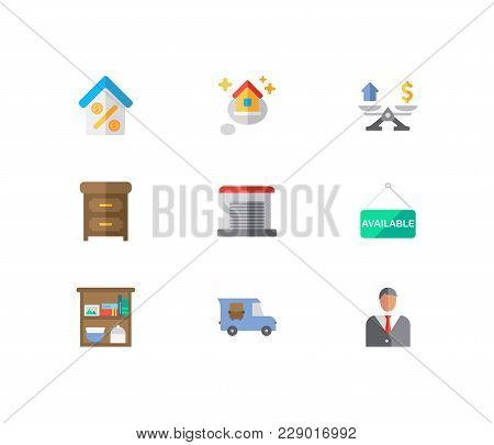 Building Icons Set. Agent And Building Icons With Furniture, House Available And Garage. Set Of Elem